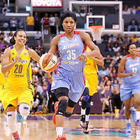 08 August 2014: Atlanta Dream guard/forward Angel McCoughtry (35) dribbles during the Los Angeles Sparks 80-77 overtime win over the Atlanta Dream, at the Staples Center, Los Angeles, California, USA.