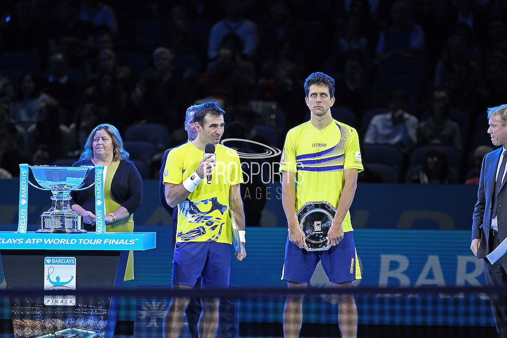 Loosing finalists Ivan Dodig and Marcelo Melo during the Mens Doubles Final of the Barclays ATP World Tour Finals, O2 Arena, London, United Kingdom on 16 November 2014 © Pro Sports Images