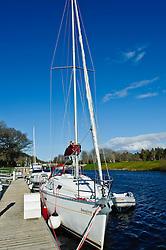 Yacht moored on the Caledonian Canal at Dochgarroch near Inverness, Scotland<br /> <br /> (c) Andrew Wilson | Edinburgh Elite media