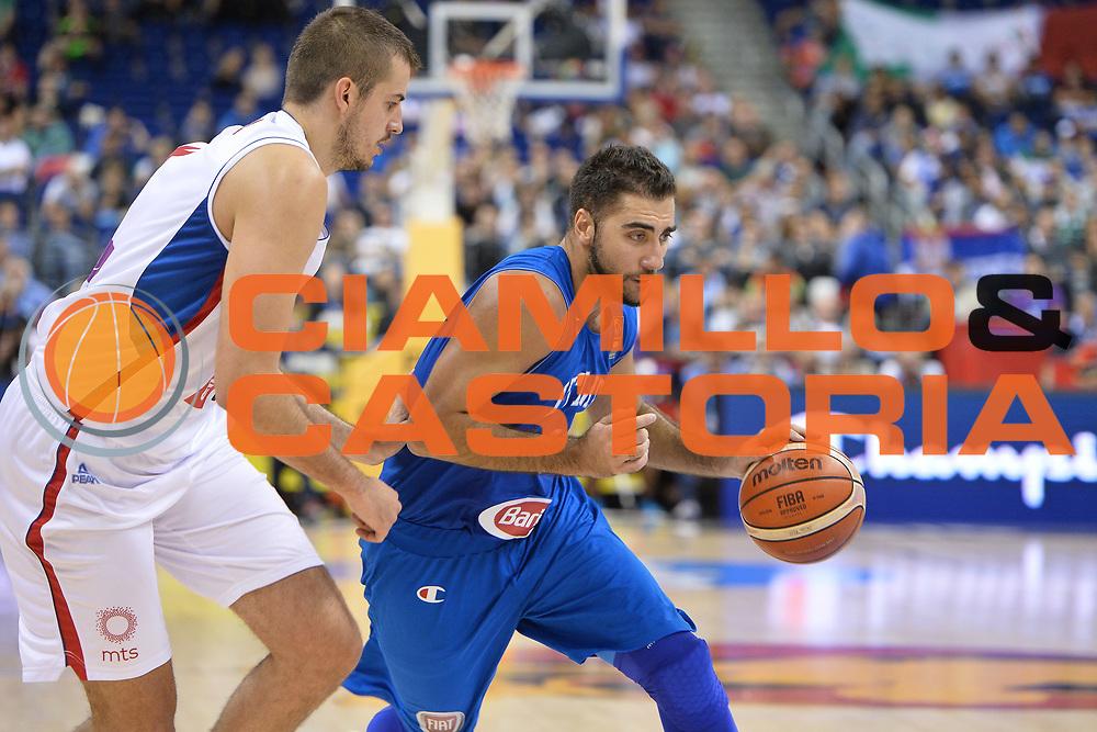 DESCRIZIONE : Berlino Berlin Eurobasket 2015 Group B Italy Serbia<br /> GIOCATORE :  Pietro Aradori<br /> CATEGORIA: Palleggio<br /> SQUADRA :Italy<br /> EVENTO : Eurobasket 2015 Group B <br /> GARA : Italy Serbia<br /> DATA : 10/09/2015 <br /> SPORT : Pallacanestro <br /> AUTORE : Agenzia Ciamillo-Castoria/I.Mancini <br /> Galleria : Eurobasket 2015 <br /> Fotonotizia : Berlino Berlin Eurobasket 2015 Group B Italy Serbia