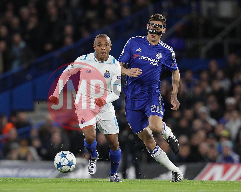 Nemanja Matic of Chelsea and Yacine Brahimi of FC Porto  in action - Mandatory byline: Paul Terry/JMP - 09/12/2015 - Football - Stamford Bridge - London, England - Chelsea v FC Porto - Champions League - Group G