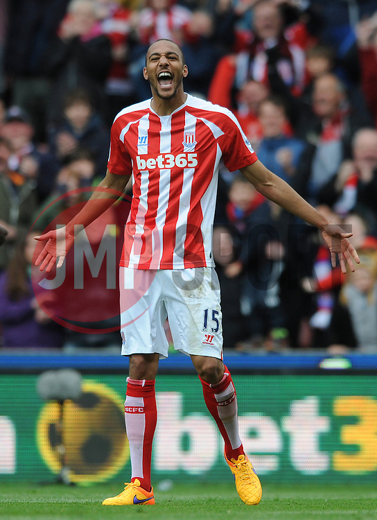 Stoke City's Steven N'Zonzi celebrates his goal - Photo mandatory by-line: Dougie Allward/JMP - Mobile: 07966 386802 - 09/05/2015 - SPORT - Football - Stoke - Britannia Stadium<br />  - Stoke v Tottenham Hotspur - Barclays Premier League