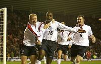 Fotball - EM-kvalifisering 2004<br /> 02.04.2003<br /> England v Tyrkia 2-0<br /> Engelsk jubel etter scoring<br /> Paul Scholes - Darius Vassell - Wayne Rooney<br /> Foto: Digitalsport