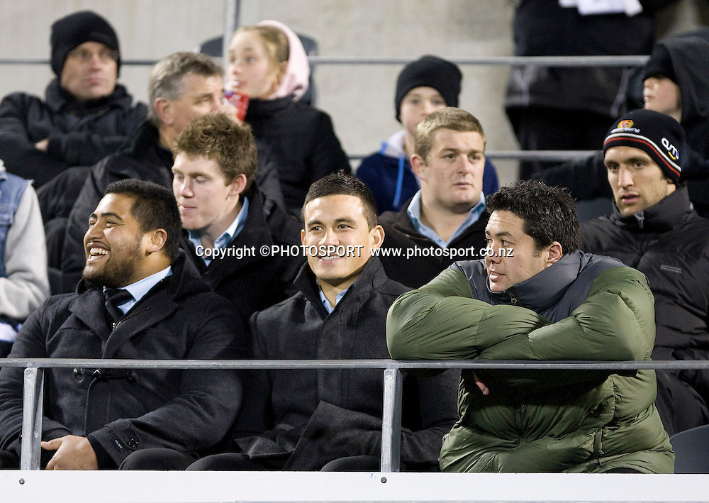 Canterbury's Sonny Bill Williams watching the game from the stands. ITM Cup. Canterbury v Wellington at AMI Stadium, Christchurch. Friday 30 July 2010. Photo: Joseph Johnson/PHOTOSPORT