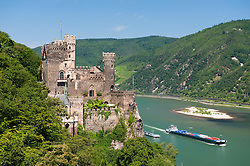 Burg Rheinstein castle above river Rhine in Germany