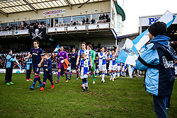 Brett Pitman of Portsmouth and Tom Lockyer of Bristol Rovers lead out their sides - Rogan/JMP - 01/01/2018 - FOOTBALL - Memorial Stadium - Bristol, England - Bristol Rovers v Portsmouth - EFL Sky Bet League One.
