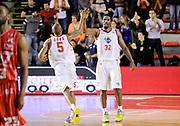 DESCRIZIONE : Roma Lega A 2013-14 Acea Virtus Roma - EA7 Emporio Milano<br /> GIOCATORE : Phill Goss Trevor Mbakwe<br /> CATEGORIA : esultanza mani <br /> SQUADRA : Acea Virtus Roma<br /> EVENTO : Campionato Lega A 2013-2014 <br /> GARA : Acea Virtus Roma - EA7 Emporio Milano<br /> DATA : 02/12/2013<br /> SPORT : Pallacanestro <br /> AUTORE : Agenzia Ciamillo-Castoria/N. Dalla Mura<br /> Galleria : Lega Basket A 2013-2014  <br /> Fotonotizia : Roma Lega A 2013-14 Acea Virtus Roma - EA7 Emporio Milano
