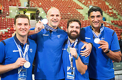 Oscar Berti, Matteo De Cecco, Roberto Ciamarra and Andrea Giani, head coach of Slovenia at trophy ceremony after Slovenia placed 2nd at volleyball match between National teams of Slovenia and France at Final match of 2015 CEV Volleyball European Championship - Men, on October 18, 2015 in Arena Armeec, Sofia, Bulgaria. Photo by Vid Ponikvar / Sportida