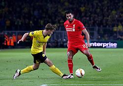 Emre Can of Liverpool takes on Marcel Schmelzer of Borussia Dortmund - Mandatory by-line: Robbie Stephenson/JMP - 07/04/2016 - FOOTBALL - Signal Iduna Park - Dortmund,  - Borussia Dortmund v Liverpool - UEFA Europa League Quarter Finals First Leg
