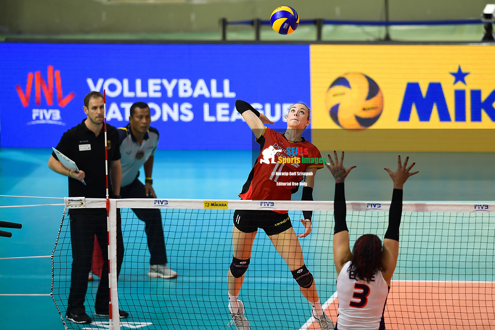 BANGKOK, THAILAND - MAY 31: Louisa Lippmann #11 of Germany in action on Day 3 match between Dominican Republic vs Germany at the FIVB Volleyball Nation League 2018, Indoor Stadium Huamark, Bangkok, Thailand on May 31, 2018. <br /> .<br /> .<br /> .<br /> (Photo by: Naratip Golf Srisupab/SEALs Sports Images)<br /> .<br /> Any image use must include a mandatory credit line adjacent to the content which should read: Naratip Golf Srisupab/SEALs Sports Images