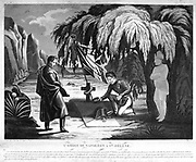The Ghost of Napoleon on St Helena. Allegorical print of Napoleon's tomb on St Helena, with the figure of Napoleon watching as a laurel wreath is laid on the stone. 19th century French engraving.