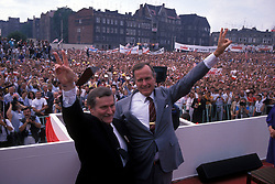 Jul 11, 1989; Gdansk, POLAND; President GEORGE BUSH SR. and Polish President LECH WALESA making a show of unity in Poland..  (Credit Image: Arthur Grace/ZUMAPRESS.com)