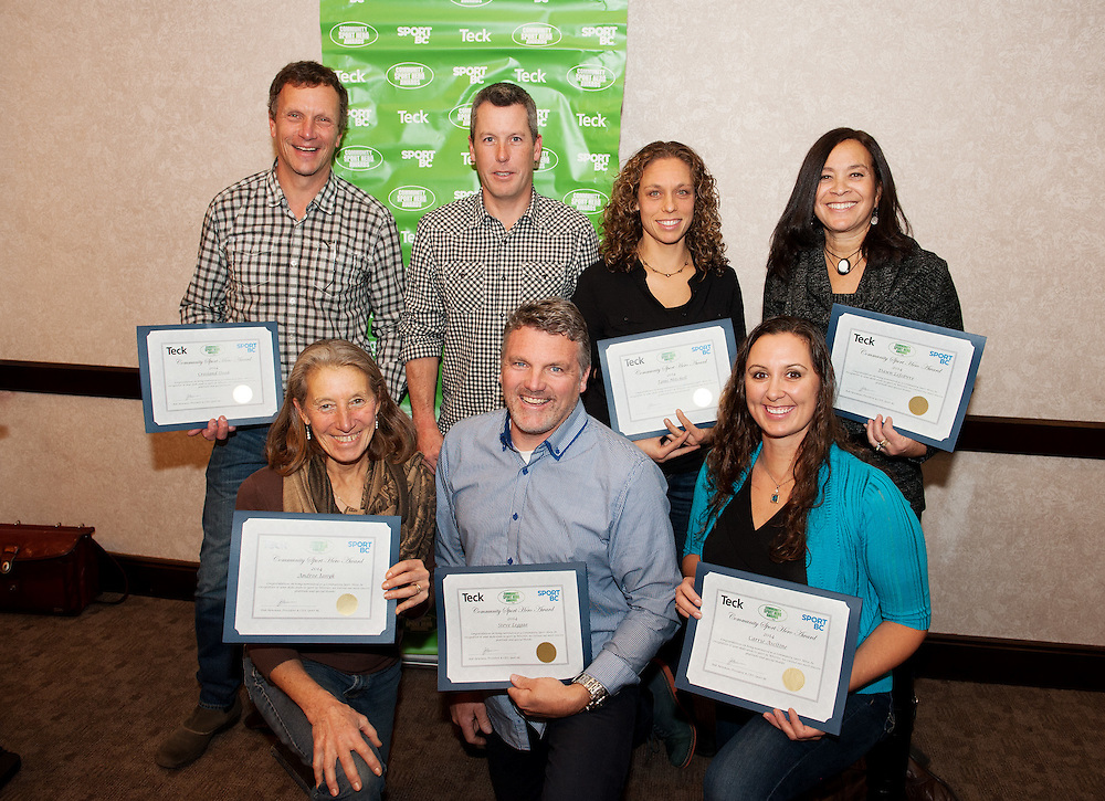 (L-R, back row)  Crosland Doak, Munny Muno, Tami Mitchell, Dawn Lefebvre<br /> <br /> (L-R, front row) Andree janyk, Steve Legge, Carrie Aseltine<br /> <br /> Sport BC Community Sports Hero Awards presented by Teck to honour sport volunteers in communities throughout the Province.  Tuesday, November 18th, 2014.<br /> <br /> Photo Credit: David Buzzard