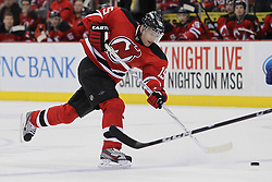 Feb 9; Newark, NJ, USA; New Jersey Devils right wing Petr Sykora (15) takes a shot during the first period of their game against the Tampa Bay Lightning at the Prudential Center.
