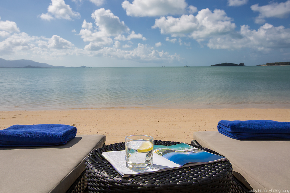 Beach and view at Villa Song, a 2 bedroom beach front villa located in Plai Laem, Koh Samui, Thailand