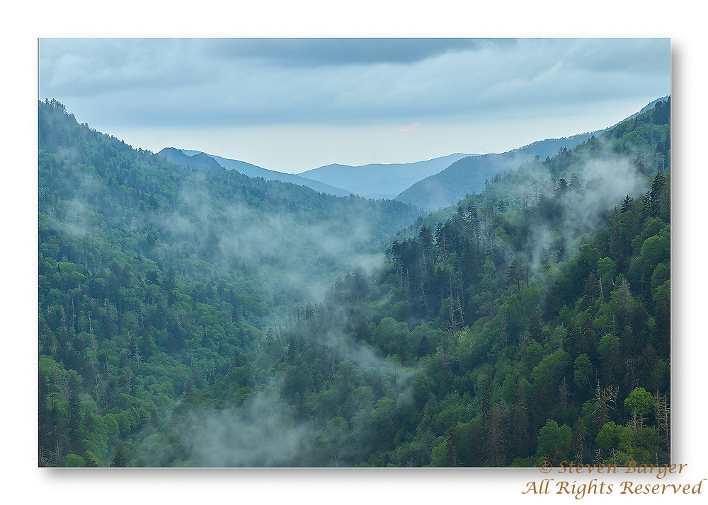 Fog beginning to form late in the evening as a storm clears from Morton's Overlook in Great Smoke Mountains National Park