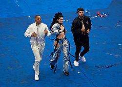"""MOSCOW, RUSSIA - Sunday, July 15, 2018: Will Smith (left) with Nicky Jam and Kosovian artist Era Istrefi after performing the official World Cup song """"Live It Up"""" during the closing ceremony before the FIFA World Cup Russia 2018 Final match between France and Croatia at the Luzhniki Stadium. (Pic by David Rawcliffe/Propaganda)"""