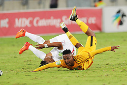 21042018 (Durban) Chiefs player Hendrick Ekstein tackle with Stars Player Nyiko Mobbie when Kaizer Chiefs takes on Free State Stars in the first Semi-Final at the Moses Mabhida Stadium On Saturday evening. FreeState let the way with a lead of 2-0 before halftime<br /> Picture: Motshwari Mofokeng/ANA