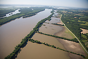 Aerial view of the 2008 Iowa flood along the Mississippi River looking towards Bear Creek public land.