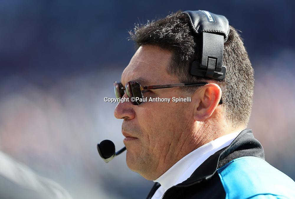 Carolina Panthers head coach Ron Rivera looks on from the sideline during the NFC Divisional Playoff NFL football game against the San Francisco 49ers on Sunday, Jan. 12, 2014 in Charlotte, N.C. The 49ers won the game 23-10. ©Paul Anthony Spinelli