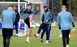 Chelsea's Andreas Christensen (left) and Ruben Loftus-Cheek (right) during a training session at CFC Training Ground, London.
