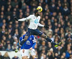 LONDON, ENGLAND - Sunday, February 9, 2014: Tottenham Hotspur's Emmanuel Adebayor in action against Everton during the Premiership match at White Hart Lane. (Pic by David Rawcliffe/Propaganda)
