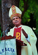 Bishop Carlos Felipe Ximenes Belo, giving a service at his residence in Dili, on Easter Sunday 1999. <br />