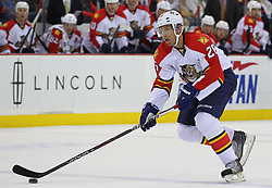 Feb 11; Newark, NJ, USA; Florida Panthers right wing Mikael Samuelsson (26) skates with the puck during the first period of their game against the New Jersey Devils at the Prudential Center.