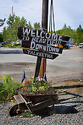 "Sign welcoming visitors to ""beautiful Downtown Talkeetna"", Alaska.."