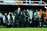 Newcastle United manager Rafa Benitez issues instructions to his team during the EFL Sky Bet Championship match between Newcastle United and Derby County at St. James's Park, Newcastle, England on 4 February 2017. Photo by Craig Doyle.