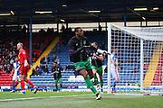 Bristol City striker, Jonathan Kodjia (22) celebrates making it 1-1 during the Sky Bet Championship match between Blackburn Rovers and Bristol City at Ewood Park, Blackburn, England on 23 April 2016. Photo by Pete Burns.