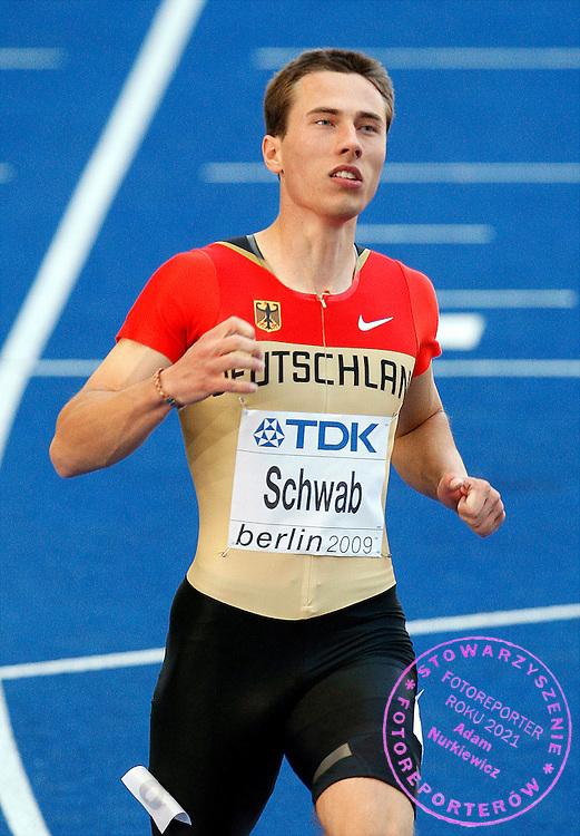 BERLIN 15/08/2009.12th IAAF World Championships in Athletics Berlin 2009.100 Metres Men - 1st Round.Stefan Schwab of Germany ..Phot: Piotr Hawalej / WROFOTO