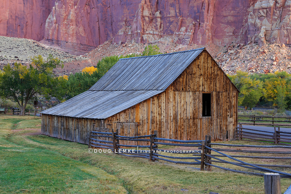 The Gifford Homestead Barn at Capitol Reef National Park of Utah in Autumn, USA
