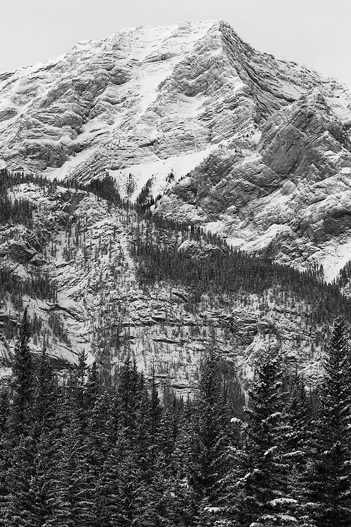 Mountain peak in the Canadian Rockies along the Icefield Parkway, Banff National Park, Alberta, Canada