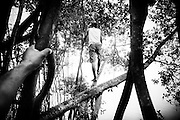 a young villager scouting for fish from a tree. His age is considered ready to migrate outside the village.