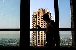 UK ENGLAND LONDON 20SEP03 -  Pensioner Royston Kean walks on the Balcony on the 28th floor of Cromwell Tower on the Barbican Estate, central London. ..jre/Photo by Jiri Rezac ..© Jiri Rezac 2003..Contact: +44 (0) 7050 110 417.Mobile:  +44 (0) 7801 337 683.Office:  +44 (0) 20 8968 9635..Email:   jiri@jirirezac.com.Web:     www.jirirezac.com