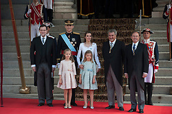 Spain's King Felipe VI (2nd L, back), Spain's Queen Letizia (3rd L, back) and Spanish Crown Princess of Asturias Leonor (1st L, front) and Spanish Princess Sofia (2nd L, front) pose for photos prior to the new king's succession ceremony in Madrid. EXPA Pictures © 2014, PhotoCredit: EXPA/ Photoshot/ Xie Haining<br /> <br /> *****ATTENTION - for AUT, SLO, CRO, SRB, BIH, MAZ only*****