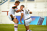 Bradford Bulls winger Omari Caro (18) scores a try and celebrates to make the score 0-10 during the Kingstone Press Championship match between Sheffield Eagles and Bradford Bulls at, The Beaumont Legal Stadium, Wakefield, United Kingdom on 3 September 2017. Photo by Simon Davies.