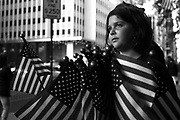 Emily Zwolik, 11, passes out American flags outside Ground Zero in New York City, New York on Sunday, September 11, 2011.<br /> (Scott Strazzante/ Chicago Tribune) B581538732Z.1<br /> ....OUTSIDE TRIBUNE CO.- NO MAGS,  NO SALES, NO INTERNET, NO TV, NEW YORK TIMES OUT, CHICAGO OUT, NO DIGITAL MANIPULATION...
