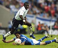 Photo: Jonathan Butler.<br /> England v Israel. UEFA European Championships Qualifying. 08/09/2007.<br /> Shaun Wright-Phillips of England leaps over Idan Tal.