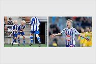 Joel Pohjanpalo celebrating goals at HJK's home stadium. LEFT: Joel, 12 years old, scores in the Helsinki Cup final. July 14, 2007. RIGHT: 17-year old Pohjanpalo celebrating first goal of a hat trick scored in two minutes and 42 seconds. Finnish league season opener HJK - IFK Mariehamn. April 15, 2012.