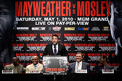 Mar 2, 2010; New York, NY, USA; Oscar De La Hoya at the press conference announcing the May 1, 2010 fight between Floyd Mayweather and Shane Mosley.  The two fighters will meet at the MGM Grand Garden Arena.