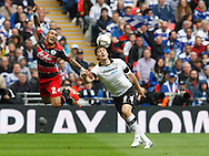 Chris Martin of Derby County (right) and  Danny Simpson of Queens Park Rangers during the Sky Bet Championship Play Off final at Wembley Stadium, London<br /> Picture by Andrew Tobin/Focus Images Ltd +44 7710 761829<br /> 24/05/2014