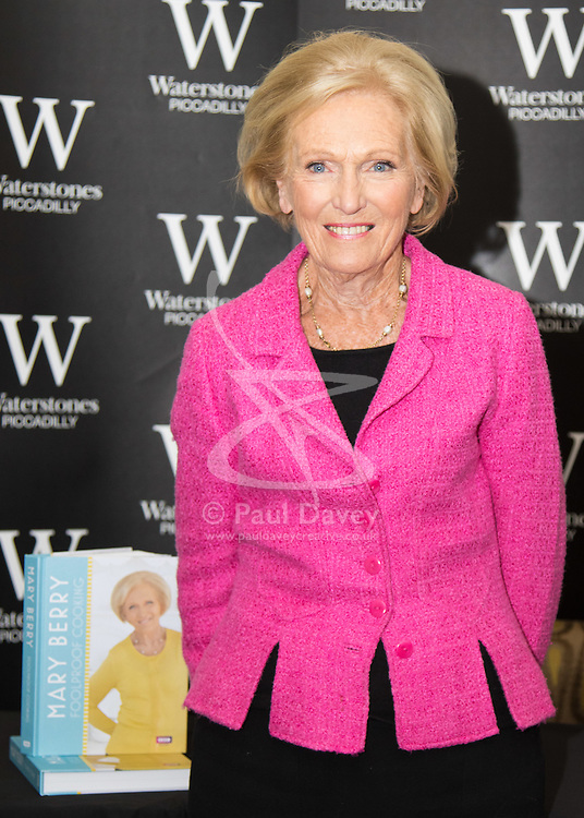 Waterstones, Piccadilly, London, March 3rd 2016. Great British Bake-off judge Mary Berry appears at Waterstones Piccadilly to sign copies of her latest book Foolproof Cooking.