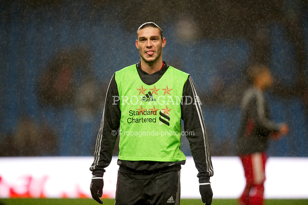 MANCHESTER, ENGLAND - Tuesday, January 3, 2012: Liverpool's Andy Carroll warms-up before the Premiership match against Manchester City at the City of Manchester Stadium. (Pic by David Rawcliffe/Propaganda)