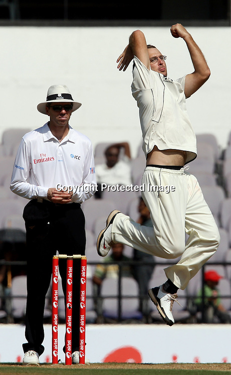 New Zealand bowler Daniel Vettori in bowling action against india during The India vs New Zealand 3rd test match day-2 Played at Vidarbha Cricket Association Stadium, Jamtha, Nagpur, 21, November 2010 (5-day match)
