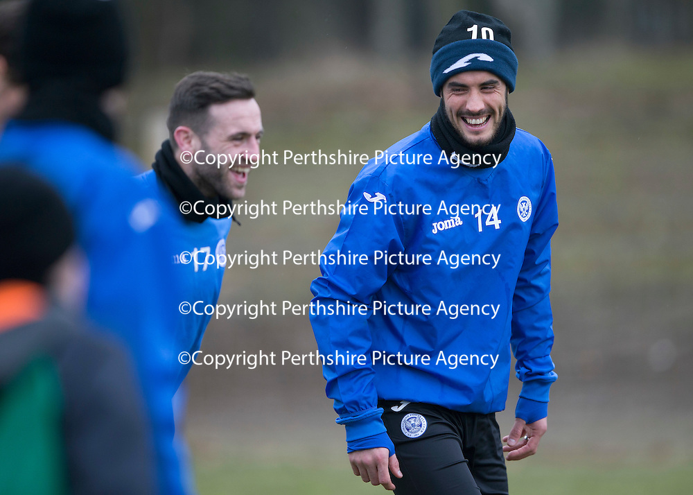 St Johnstone Training....13.02.15<br /> Brian Graham pictured during training this morning at McDiarmid Park ahead of tomorrow's game against Celtic<br /> Picture by Graeme Hart.<br /> Copyright Perthshire Picture Agency<br /> Tel: 01738 623350  Mobile: 07990 594431