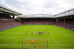 LIVERPOOL, ENGLAND - Sunday, May 11, 2014: Liverpool's Luis Suarez takes a free-kick against Newcastle United during the Premiership match at Anfield. (Pic by David Rawcliffe/Propaganda)