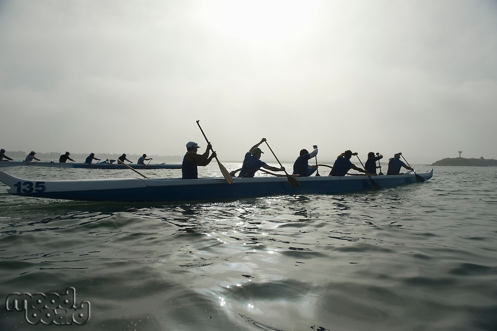 Outrigger canoeing team compete