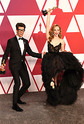 "Guy Nattiv and Jaime Ray Newman, winners of the Best Live Action Short Film Awards for ""Skin"" at the 91st Annual Academy Awards (Oscars) presented by the Academy of Motion Picture Arts and Sciences.<br /> (Hollywood, CA, USA)"